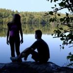 Couple by a Swedish lake